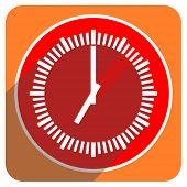time red flat icon isolated