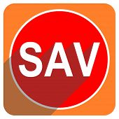 sav red flat icon isolated
