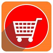 cart red flat icon isolated
