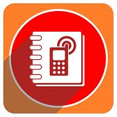 phonebook red flat icon isolated