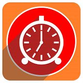 alarm red flat icon isolated