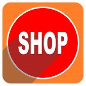 shop red flat icon isolated
