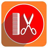 barber red flat icon isolated
