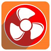fan red flat icon isolated