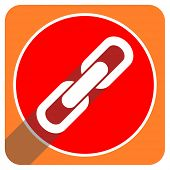 link red flat icon isolated