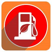 biofuel red flat icon isolated