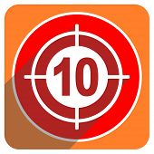 target red flat icon isolated