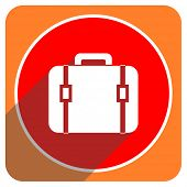 bag red flat icon isolated