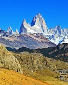 Famous rock Fitz Roy peaks in the Andes. Magnificent panorama of snow-capped mountains in Patagonia