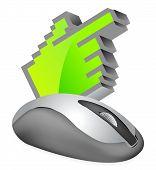 Mouse de computador com o cursor no fundo branco