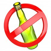 Stop alcohol or No glass sign.  Bottle on white isolated background. 3d