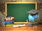 School education concept. Mortar board, blackboard, textbooks, globe and pencils. 3d