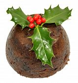 Christmas Pudding And Holly
