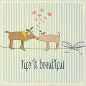 Retro Illustration With Happy Couple Dogs In Love And Phrase