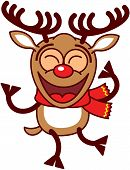 picture of antlers  - Lovely brown reindeer with big antlers and red nose and wearing a red scarf while clenching its eyes - JPG