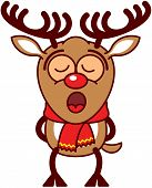 image of bulging belly  - Adorable brown reindeer with big antlers - JPG