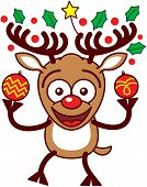 Nice reindeer holding Xmas baubles and ornaments