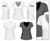 Women's v-neck t-shirt design template (front, back, side views). Vector illustration.