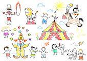 Happy children in circus