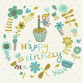Cartoon floral Happy Birthday card in vector. Cute fairy with candle on tasty cupcake in flowers