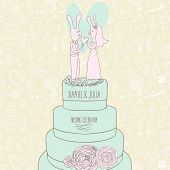 Stylish concept background. Gentle Save the Date card in vector. Cute rabbits on tasty cake in pastel colors