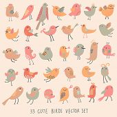 33 cute birds in pastel pink colors. Cartoon collection with funny little bird family.