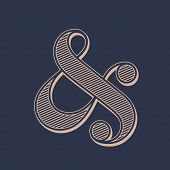 Stylish ampersand symbol on dark background. Vector illustration