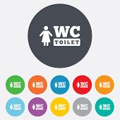 WC women toilet sign icon. Restroom symbol.