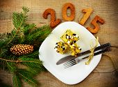 New Year's Eve 2015 Decoration With Gold Gifts