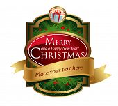 Christmas label for greeting cards, banners, presentations, decorations. Easy to edit  all pieces are separated.