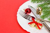 image of buffet lunch  - Christmas plate on a red background closeup - JPG