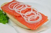 Salmon Sandwich with Onions and Parsley