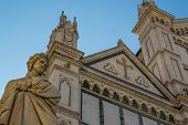 image of alighieri  - Dante Alighieri statue by Enrico Pazzi in Santa Croce square in Florence - JPG