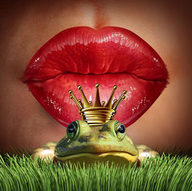 stock photo of lip  - Love Match and finding prince charming or mr right concept as red female lips getting ready to kiss a frog prince wearing a crown as a metaphor for finding romance and relationship online dating symbol - JPG
