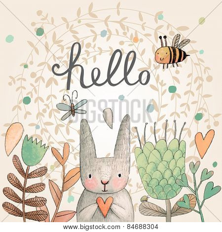 Stunning card with cute Rabbit, butterfly and bee in summer flowers. Awesome background made in wate