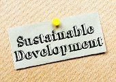 picture of sustainable development  - Recycled paper note pinned on cork board - JPG