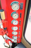 stock photo of electricity meter  - Meters or gauge in crane cabin for measure Maximun load - JPG
