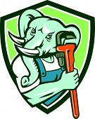 stock photo of plumber  - Illustration of an african elephant plumber mascot holding monkey wrench set inside shield crest on isolated background done in retro style - JPG