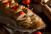 picture of greek  - Homemade Greek Easter Bread with Red Eggs - JPG