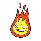 stock photo of fireball  - retro comic book style cartoon friendly fireball - JPG