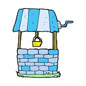 picture of wishing-well  - retro comic book style cartoon wishing well - JPG