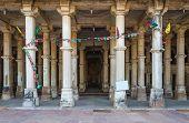 stock photo of saracen  - Column at Sarkhej Roza mosque Ahmedabad India  - JPG