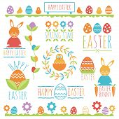 pic of bird egg  - collection of easter themed ornaments with banners emblems rabbits birds flowers and eggs - JPG