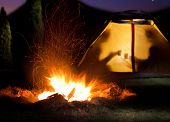 picture of romantic  - Camp shines at night - JPG