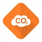 picture of carbon-dioxide  - carbon dioxide orange flat icon co2 sign  - JPG