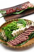 picture of canard  - wild mallard duck raw meat on bamboo tray - JPG