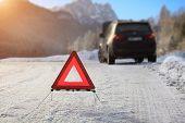 image of breakdown  - Car with a breakdown in the winter - JPG