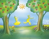 picture of gingerbread man  - A man and a woman are running in the country - JPG