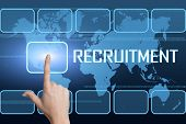 stock photo of recruiting  - Recruitment concept with interface and world map on blue background - JPG