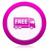 pic of free-trade  - free delivery violet icon transport sign  - JPG
